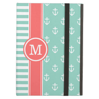Aqua and Coral Nautical Anchors Monogram iPad Air Case