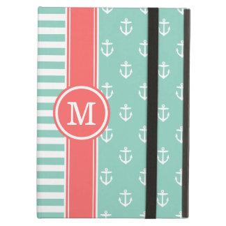 Aqua and Coral Nautical Anchors Monogram iPad Air Covers