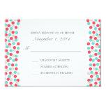Aqua and Coral Polka Dot Wedding Response Card 9 Cm X 13 Cm Invitation Card