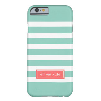 Aqua and Coral Preppy Stripes Monogram Barely There iPhone 6 Case