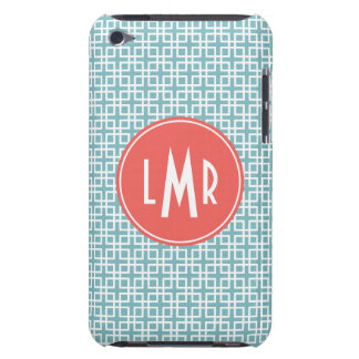Aqua and Coral Square Lattice Pattern Monogram Barely There iPod Cover