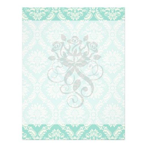 aqua and cream fleur elegant damask 21.5 cm x 28 cm flyer