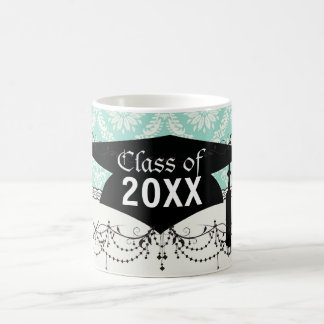 aqua and cream fleur elegant damask graduation basic white mug