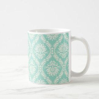 aqua and cream fleur elegant damask mug
