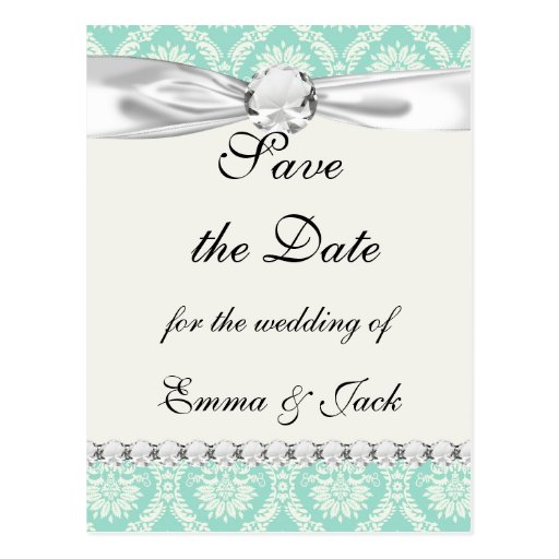 aqua and cream fleur elegant damask postcard