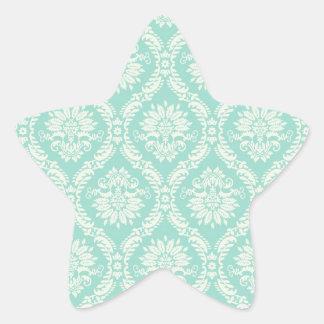 aqua and cream fleur elegant damask star sticker