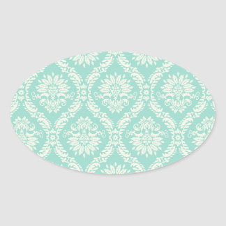 aqua and cream fleur elegant damask oval sticker