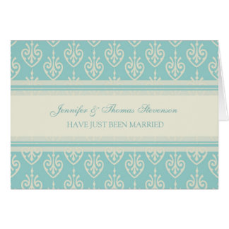 Aqua and Cream Just Married Announcement Card