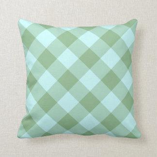 Aqua and Dark Sea Green Gingham Cushion