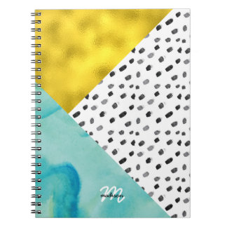 Aqua and Gold Mixed Media Monogrammed Spiral Notebook