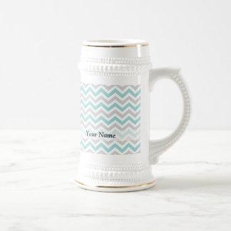 Aqua and gray chevron pattern beer stein