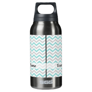 Aqua and gray chevron pattern insulated water bottle