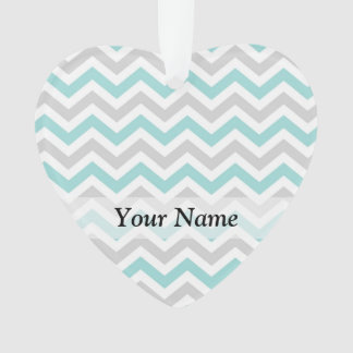 Aqua and gray chevron pattern ornament