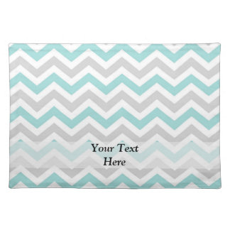 Aqua and gray chevron pattern placemat