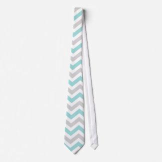 Aqua and gray chevron pattern tie