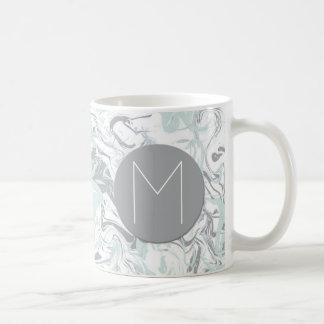 Aqua and Gray Marble Print Monogrammed Coffee Mug