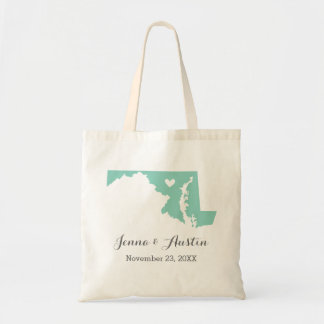 Aqua and Gray Maryland Wedding Welcome Tote Bag