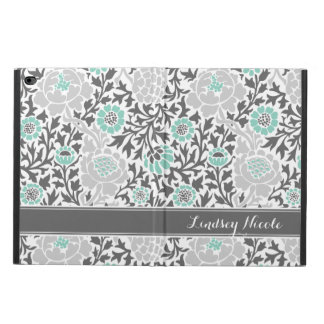 Aqua and Gray Retro Floral Damask Monogram