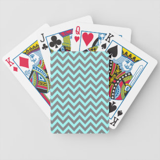 Aqua and Gray Zigzag 2 Bicycle Playing Cards