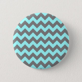 Aqua and Gray Zigzag 6 Cm Round Badge
