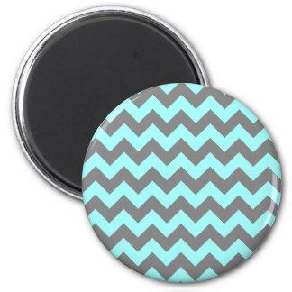 Aqua and Gray Zigzag 6 Cm Round Magnet