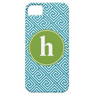Aqua and Green Greek Key Pattern Monogram iPhone 5 Case