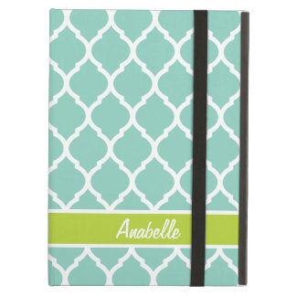 Aqua and Green Quatrefoil Monogram iPad Air Covers
