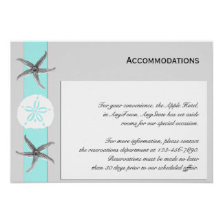 Aqua and Grey Band Starfish Accomodations Custom Invites