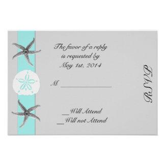 Aqua and Grey Band Starfish Response Card