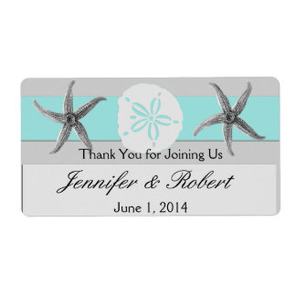 Aqua and Grey Band Wedding Water Bottle Label Shipping Label