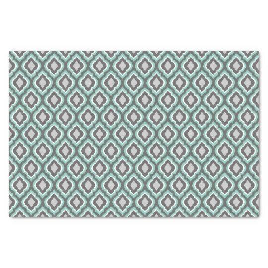 Aqua and Grey Ikat Moroccan Tissue Paper