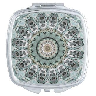 Aqua and Grey Mandala Art Compact Mirrors