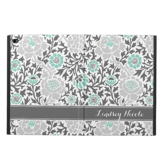 Aqua and Grey Retro Floral Damask Monogram