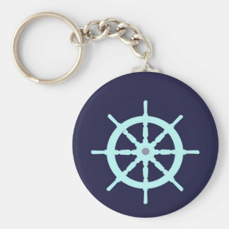 Aqua and Grey Ship's Wheel. Key Chains
