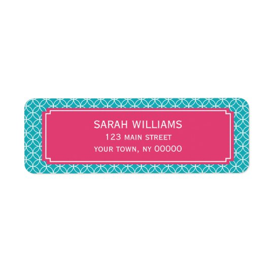 Aqua and Hot Pink Geometric Pattern Return Address Label