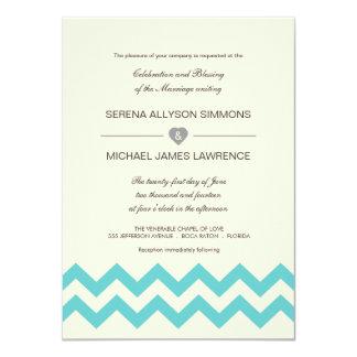 Aqua and Ivory Chevron Wedding Invitations