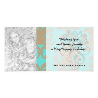 aqua and light brown formal damask photo greeting card