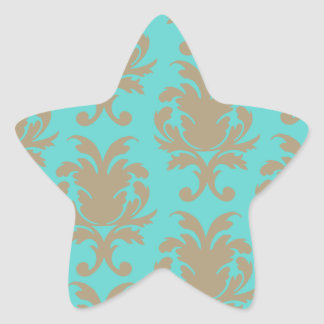 aqua and light brown formal damask star sticker