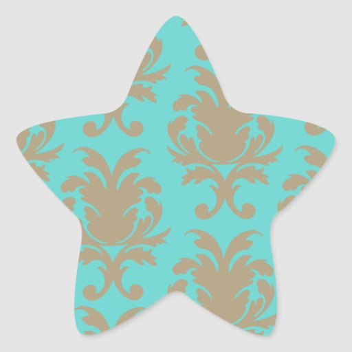 aqua and light brown formal damask star stickers