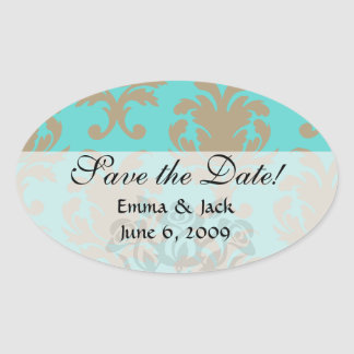 aqua and light brown formal damask oval sticker