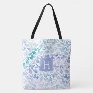 Aqua and Lilac Watercolor Butterflies Tote Bag
