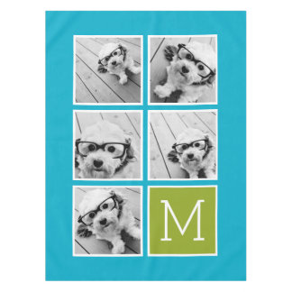Aqua and Lime Instagram 5 Photo Collage Monogram Tablecloth