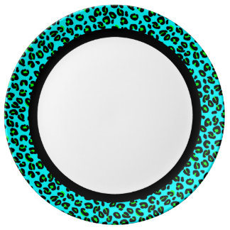 Aqua and Lime Leopard with Black Band on White Plate