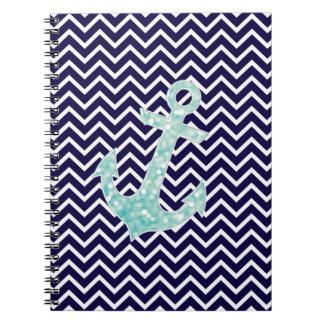 Aqua and Navy Nautical Glitter Sparkles Anchor Spiral Notebook