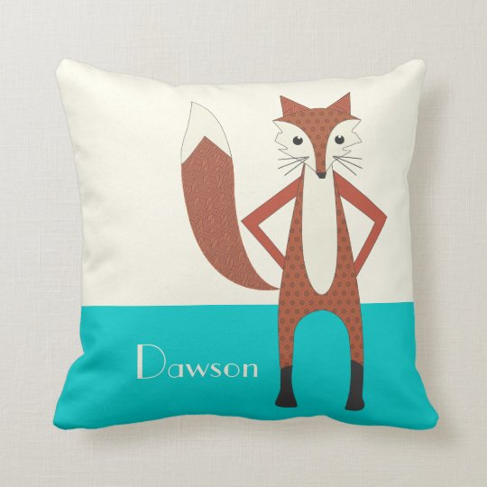 Aqua and Orange Personalised Stylised Fox Pillow