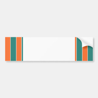 Aqua And Orange Stripes Bumper Stickers