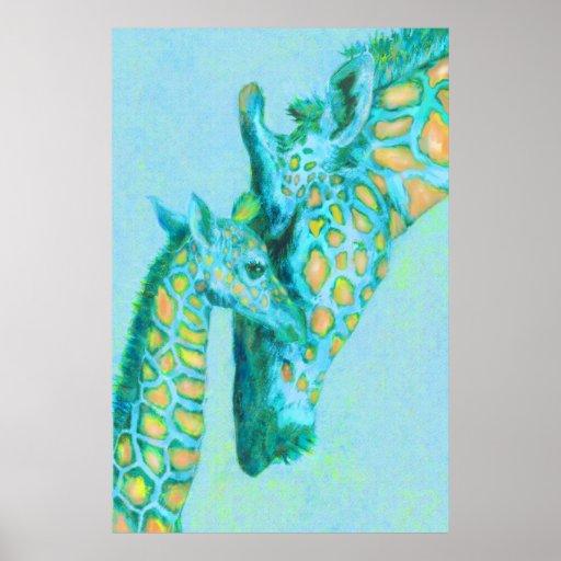 aqua and peach giraffes poster