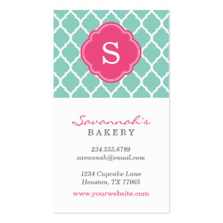 Aqua and Pink Chic Moroccan Lattice Monogram Pack Of Standard Business Cards