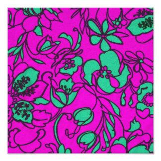 Aqua and Pink Floral Print Photo Print