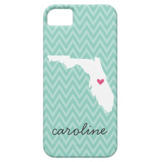 Aqua and Pink Florida Love Chevron Monogram Case For The iPhone 5